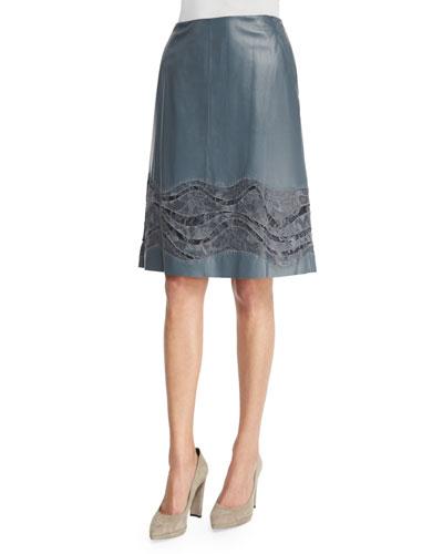 Tatiana Leather Skirt W/ Lace Stripe