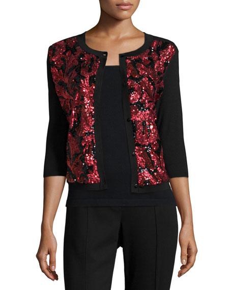Michael Simon Sequined Floral Button-Front Cardigan, Plus Size