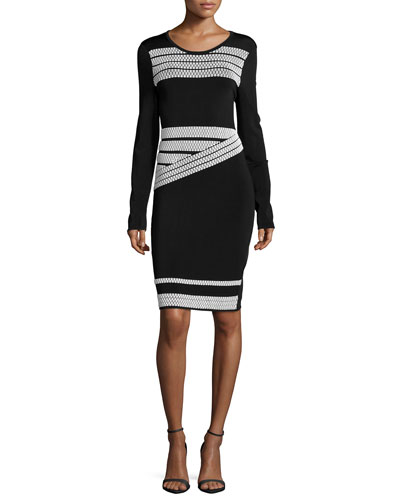 Long-Sleeve Contrast-Stripe Dress, Black/White