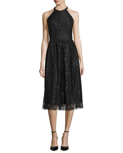 Sleeveless Jewel-Neck Lace Dress, Jet
