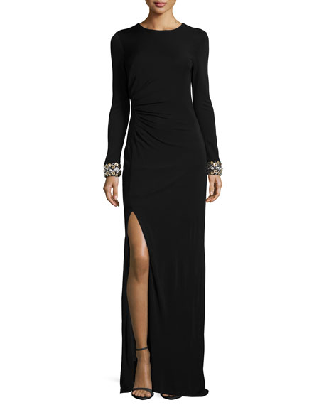 Shoshanna Long-Sleeve Beaded-Cuff Ruched Gown