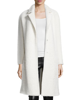 Rosalynn Boxy Popcorn-Knit Coat, Cream