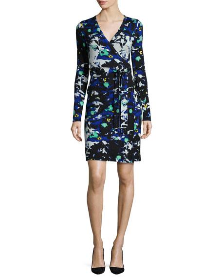 Leandra Leaf-Print Wrap Dress, Blue