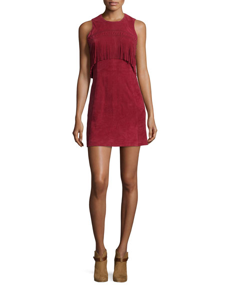 Rebecca Minkoff Sleeveless Suede Mini-Dress W/Fringe, Wine