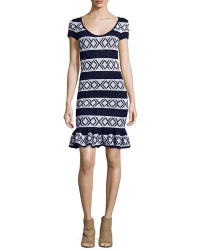 Victory Short-Sleeve Fit-&-Flare Dress, Cream/Navy