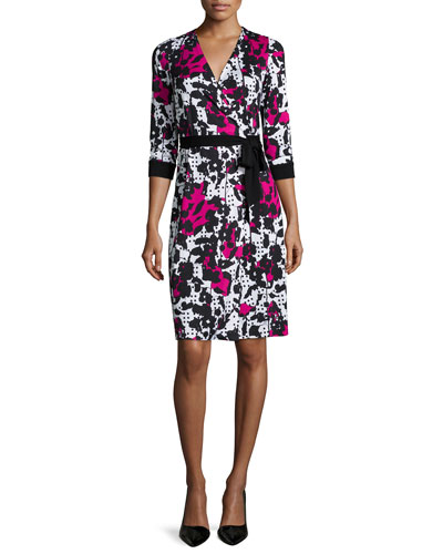 Julian Dot-Print Wrap Dress