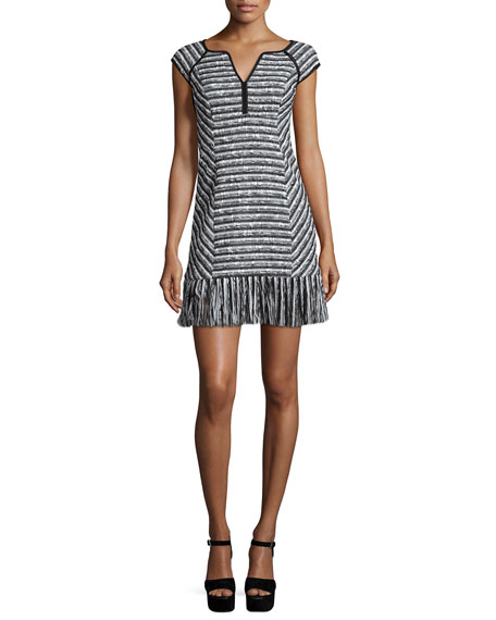 Nanette Lepore Cap-Sleeve Tweed Dress W/ Fringe Hem