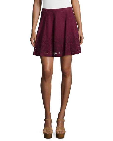 LaMarque Inaja Laser-Cut Suede A-Line Skirt, Merlot