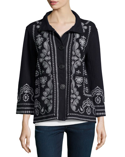 Everly Embroidered Pouch-Pocket Pea Coat, Women's