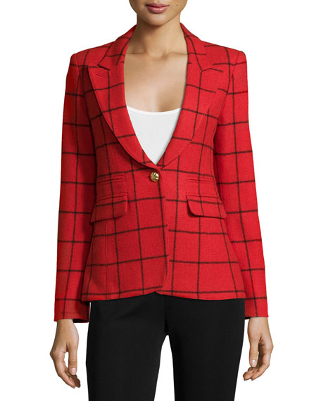 Elbow-Patch Grid Blazer