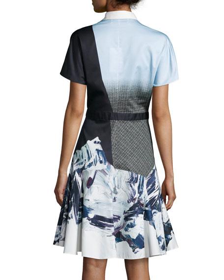 Short-Sleeve Flared Shirtdress, Light Blue