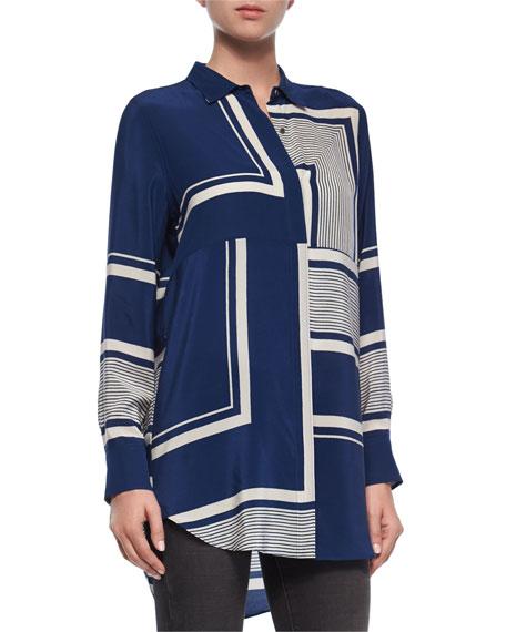 MiH Long-Sleeve Simple Shirt, Stutter Stripe