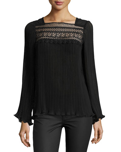 Long-Sleeve Pleated Swing Top, Black