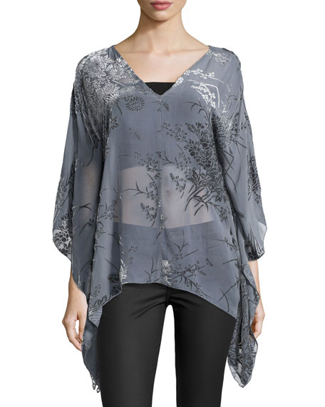 4 Love and Liberty Paz V-Neck Burnout Poncho,