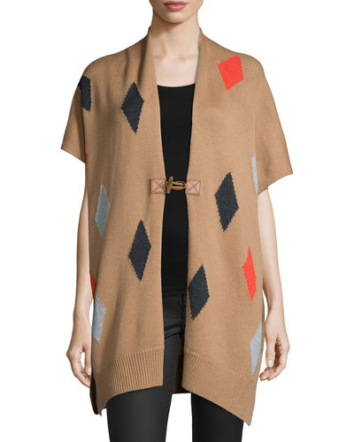 Diamond-Print Wool Poncho
