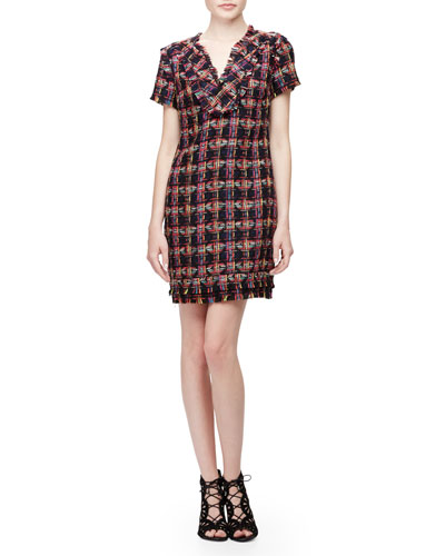 Short-Sleeve Split-Neck Shift Dress, Multi Colors