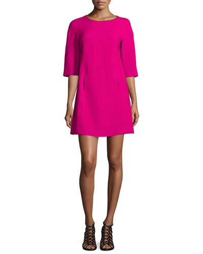Half-Sleeve Seamed Shift Dress