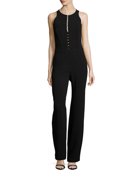 Trina Turk Sleeveless Ladder-Front Jumpsuit