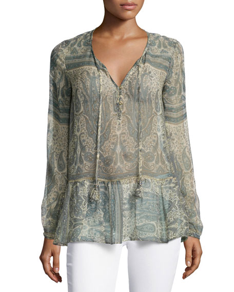 Calypso St Barth Tuloni Long-Sleeve Printed Top, Sand