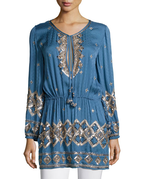 Calypso St. Barth Fioretta Embellished Tunic, Bluette
