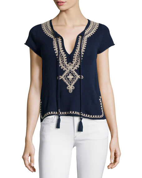 Calypso St Barth Solney Embroidered Cashmere Sweater, Navy