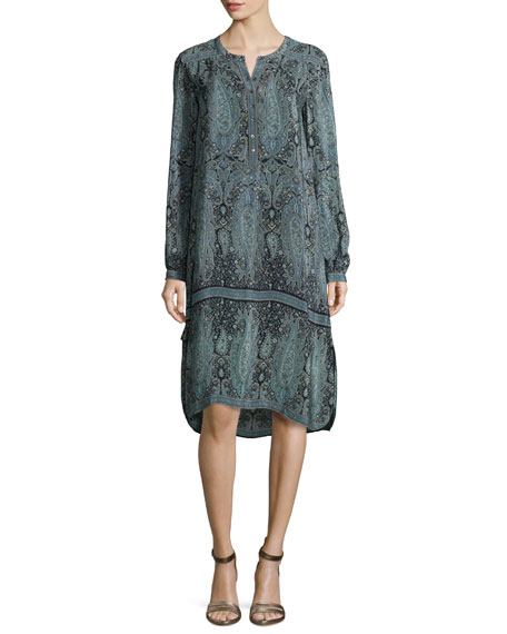 Calypso St. Barth Lita Paisley-Print Long-Sleeve Dress, Navy
