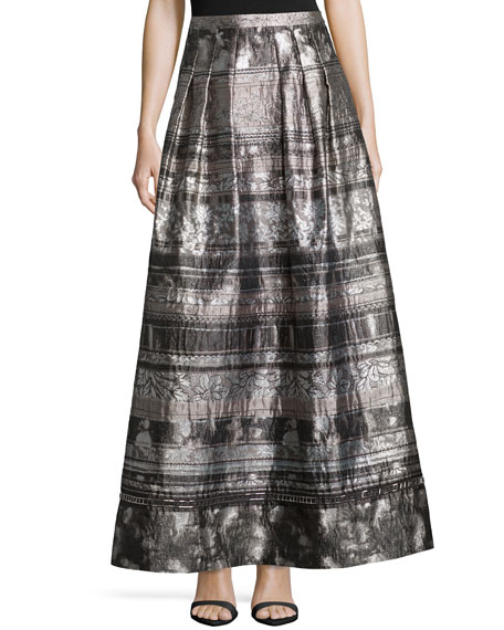 Phoebe Couture Jacquard Mixed-Media Full Skirt
