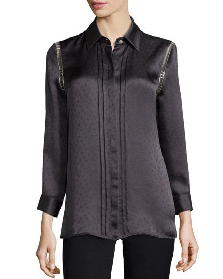 Kay Unger New York Dot Jacquard Silk Top