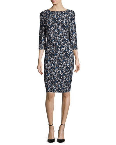 3/4-Sleeve Geometric-Print Jersey Sheath Dress