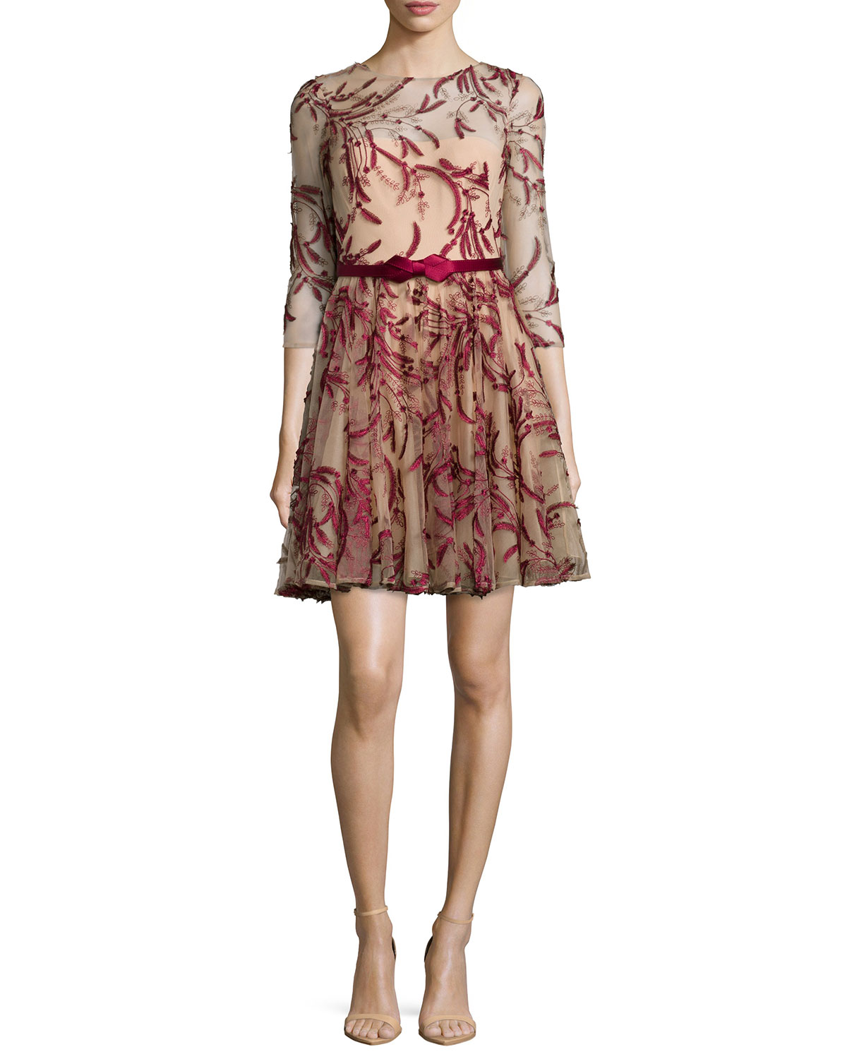 Marchesa Notte3 4 Sleeve Tulle Fit Flare Dress Red