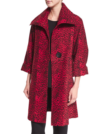 Caroline Rose Leopard-Print Mid-Weight Statement Coat, Plus Size