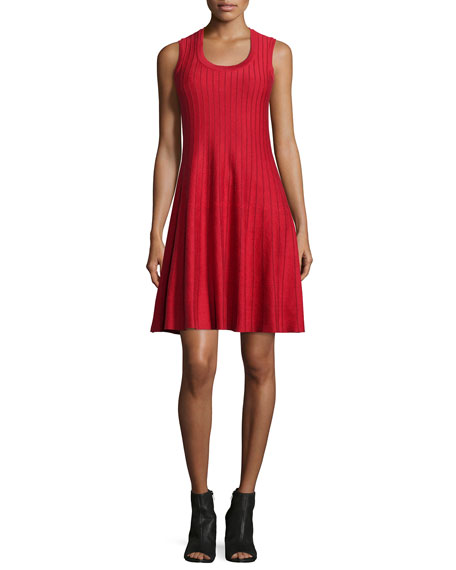 NIC+ZOE Twirl Sleeveless Knit Dress, Red, Petite