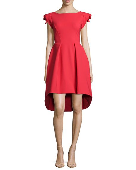 La Petite Robe di Chiara Boni Rosette Cap-Sleeve High-Low Dress