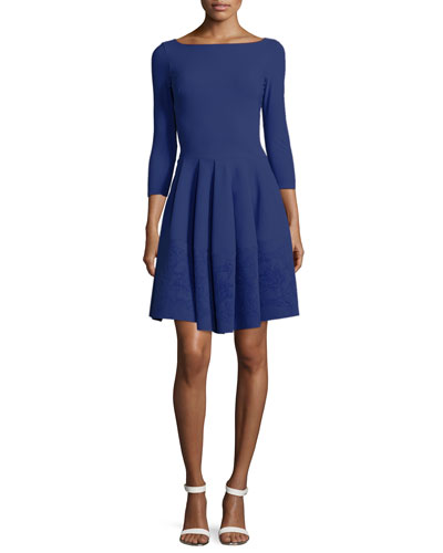 Helga 3/4-Sleeve Fit & Flare Dress W/ Burnout Hem