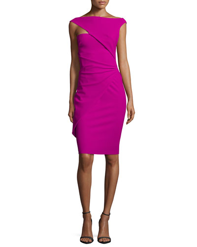 Silviett Asymmetric Cap-Sleeve Ruched Cocktail Dress