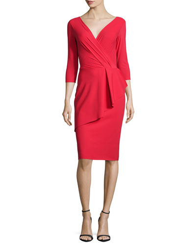 3/4-Sleeve Asymmetric Peplum Cocktail Dress