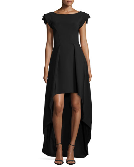 La Petite Robe di Chiara Boni Dionne Rosette Cap-Sleeve High-Low Dress