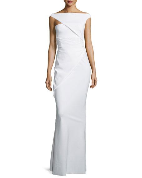 La Petite Robe di Chiara Boni Asymmetric-Sleeve Ruched Column Gown