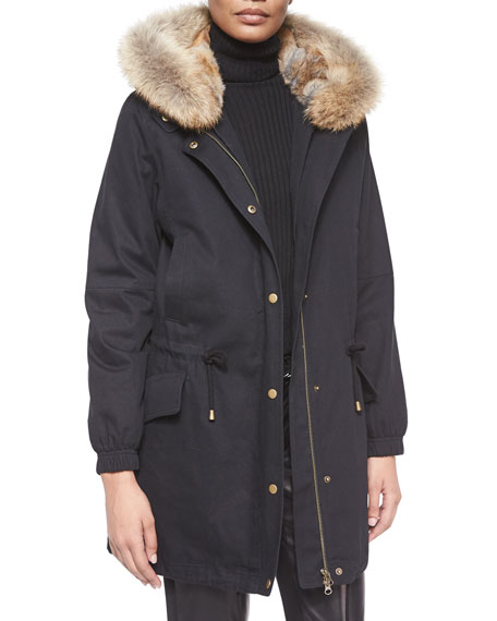 Vince Fur-Trimmed Hooded Parka Jacket, Black