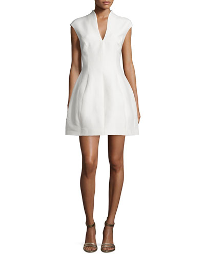 Structured Cap-Sleeve Dress, Bone