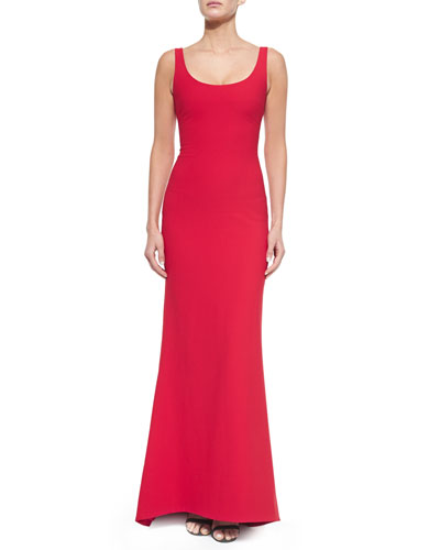 Malaya Sleeveless Scoop-Neck Dress, Red