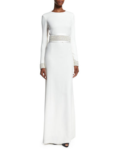 Open-Back Gown W/ Embellished Trim