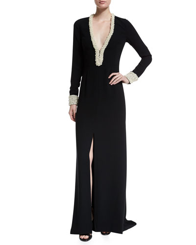 Long-Sleeve V-Neck Column Gown with Pearl Trim