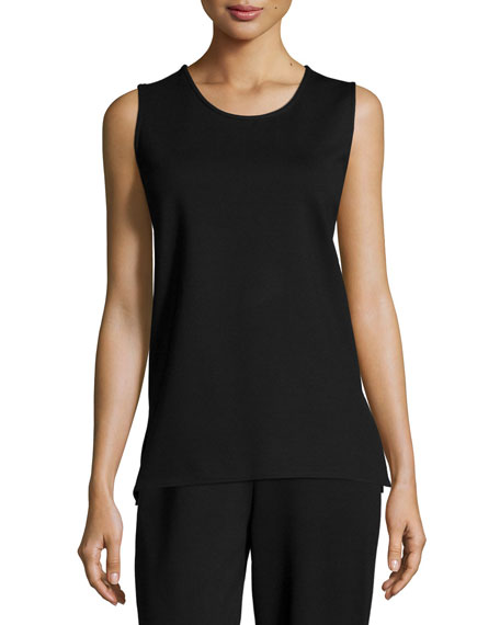 Caroline Rose Ponte Knit Longer Tank, Black, Petite