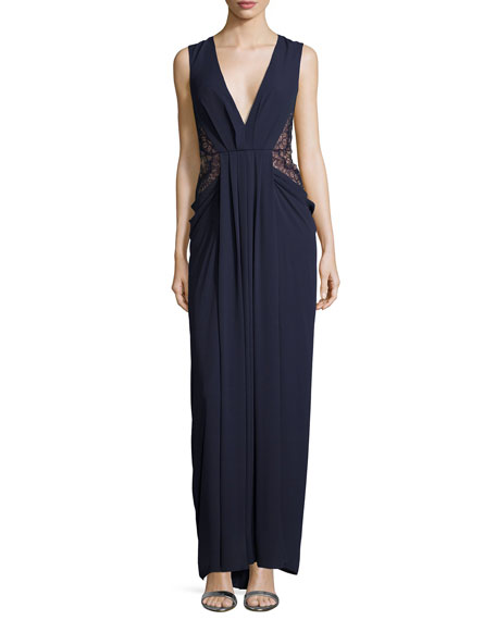 BCBGMAXAZRIA Sleeveless Deep-V Lace Draped Gown