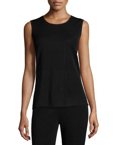 Crewneck Knit Tank, Black