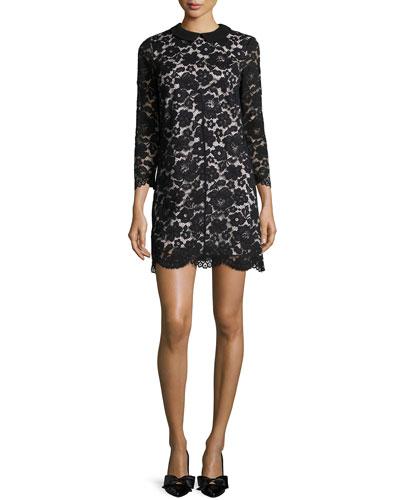 Ameera Lace Sheath Dress, Black