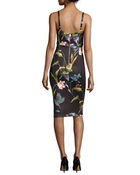 Lisa Sleeveless Oriental Floral-Print Midi Dress, Black