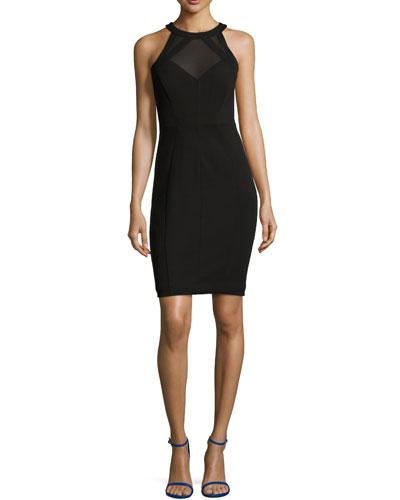 Jashmee Mesh-Inset Bodycon Dress, Black