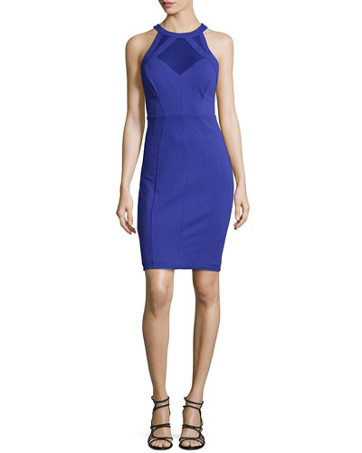 Jashmee Mesh-Inset Bodycon Dress, Blue